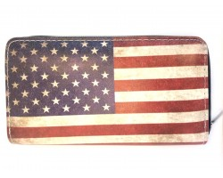 USA Flag Distressed Flat Wallet
