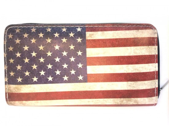 USA Flag Distressed Flat Wallet