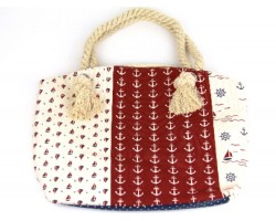 Red White Nautical Tote Bag