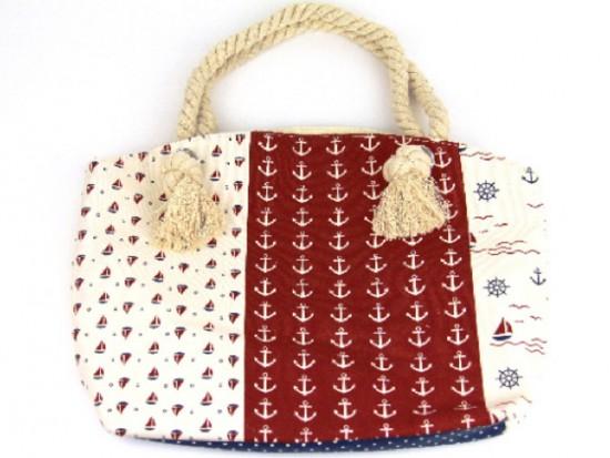 Red White Nautical Tote Bag