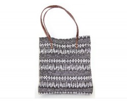 Black White Aztec Tribal Pattern Tote Bag