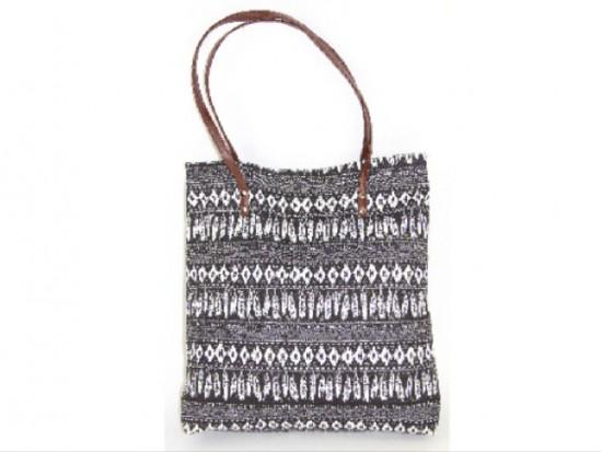 Black White Aztec Tribal Pattern Tote Bag