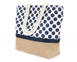 Navy Blue Polka Dot Pattern White Tote Bag