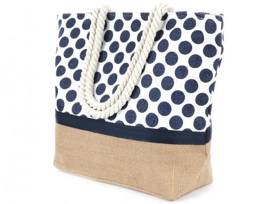 Navy Blue Polka Dot Pattern White Tote Bag