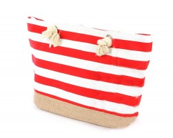 Red Stripe Pattern White Tote Bag