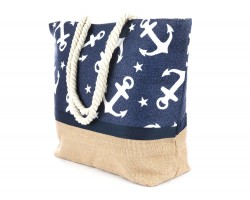 Navy Blue White Anchor Pattern Tote Bag