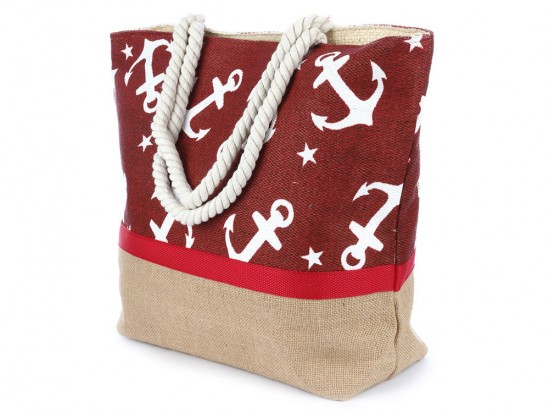 Red White Anchor Pattern Tote Bag