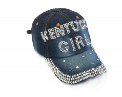Kentucky Girl Crystal Dark Blue Denim Ball Cap