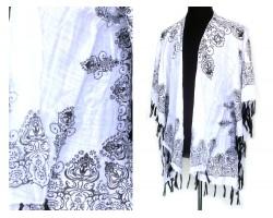 Black Bohemian Fringe Kimono