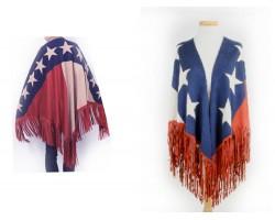 Texas Flag Stars Strips Fringe Suede Poncho