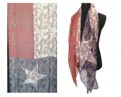 Texas Flag Distressed Oblong Scarf