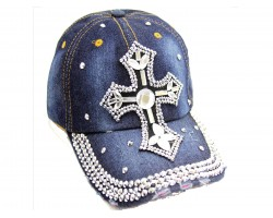Crystal Cross Dark Blue Denim Baseball Cap