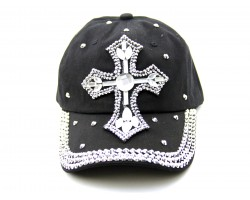 Crystal Cross Black Baseball Cap