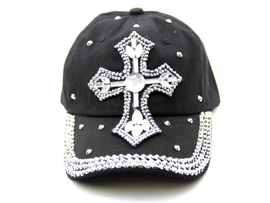Crystal Cross Black Baseball Cap