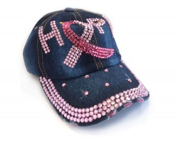 Pink Crystal Hope Cancer Blue Denim Baseball Cap