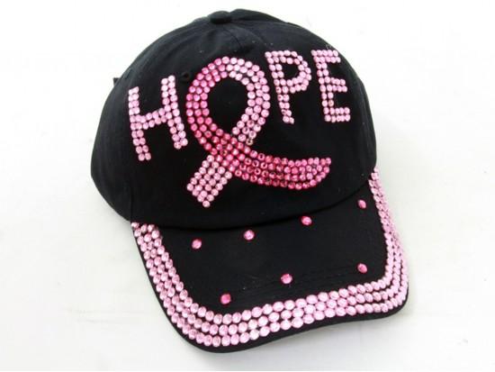 Pink Crystal Hope Cancer Black Baseball Cap