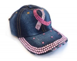 Pink Crystal Cancer Ribbon Blue Denim Baseball Cap