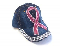 Pink Crystal Large Cancer Ribbon Denim Baseball Cap