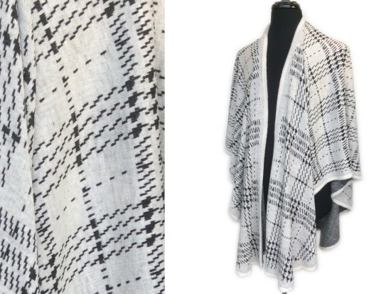 Light Gray Black Geometric Plaid Ruana Poncho