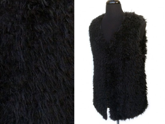 Black Fur Satin Lined Vest