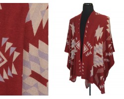 Maroon Beige Indian Pattern Ruana Poncho