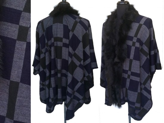 Navy Plaid Fur Edge Ruana Poncho