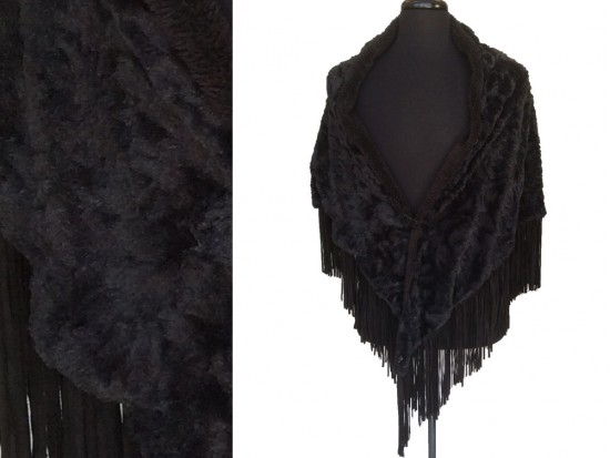 Black Fur Leather Fringe Shawl Poncho