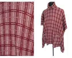 Maroon White Checkered Knit Turtleneck Poncho