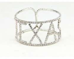 Silver Texas Clear Crystal Memory Wire Bracelet
