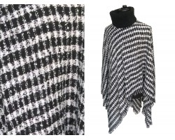 Black White Checker Turtleneck Poncho