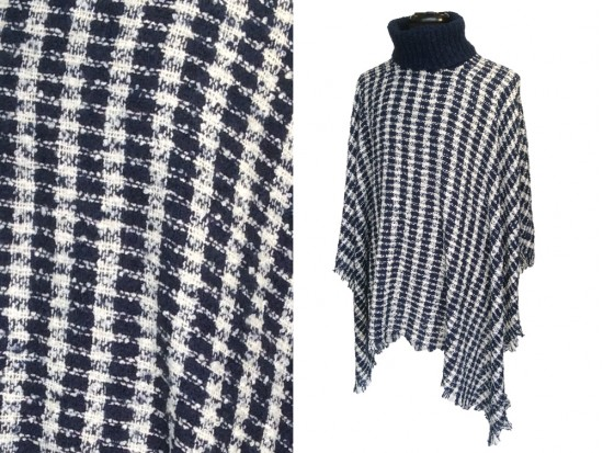Navy White Checker Turtleneck Poncho