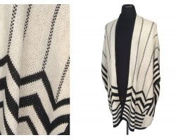 Beige Black Striped Chevron Border Knit Poncho