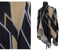 Black Gold Tribal Design Ruana Poncho