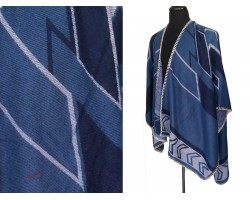 Blue Tribal Design Ruana Poncho
