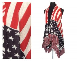 Red White Blue Stars Stripes Sleeveless Cardigan