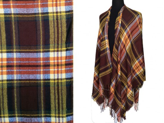 Brown Gold Red Plaid Fringe Poncho