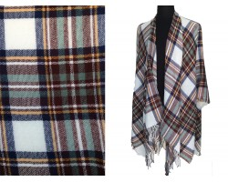 Brown Green White Plaid Fringe Poncho