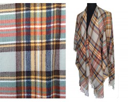 Orange Gray Yellow Black Plaid Fringe Poncho