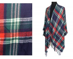 Red Navy White Plaid Fringe Poncho