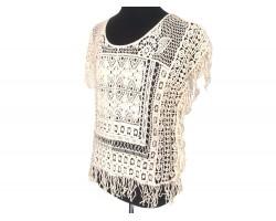 White Open Weave Crochet Shirt Top
