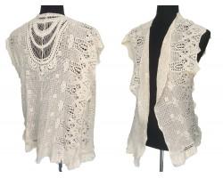 White Open Weave Crochet Floral Fringe Vest