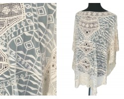 White Open Weave Crochet Lace Poncho