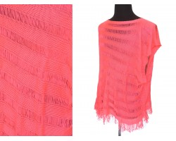 Coral Loose Weave Knit Top