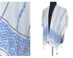 Blue White Black Chevron X's Front Cut Poncho