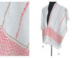 Pink White Black Chevron X's Front Cut Poncho