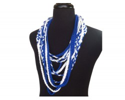 Blue White Braided Multi Strand Necklace
