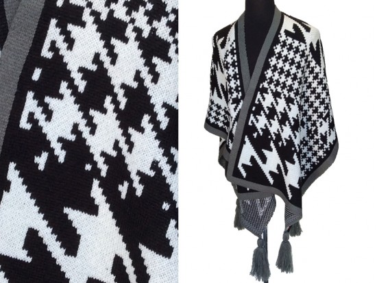 Gray Black Large Houndstooth Print Knit Poncho
