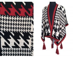 Dark Red Black Large Houndstooth Print Knit Poncho