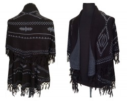 Black Tribal Pattern Double Layer Fringe Poncho