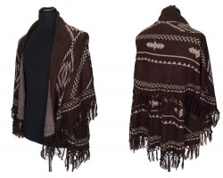 Brown Tribal Pattern Double Layer Fringe Poncho